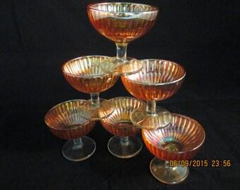 Six Amber Marigold sherbet desert cups