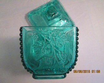 Turquoise paneled grape candy dish with lid