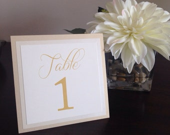 Gold tented table numbers, gold table numbers, layered table numbers, champagne table numbers