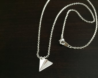 One Direction Harry Styles Paper Airplane Necklace Silver, Airplane Necklace, Airplane Jewelry, Airplane Pendant, Airplane, Plane Necklace