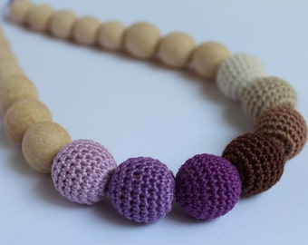 Crochet wooden necklace brown lilac