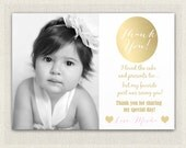 Gold and Pink Photo Thank You Card / Printable Download / Birthday Thank You Note / Gold Girls Birthday (106)