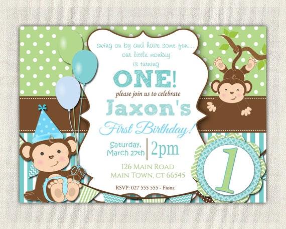Boys Blue and Green Monkey 1st Birthday Invitation / Printable