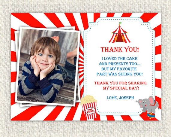 Carnival Circus Theme Thank You Card Printable Download – Birthday Thank You Photo Cards