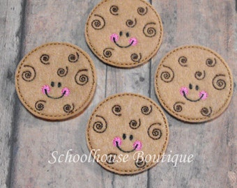 Swirl Cookie felties, felt paper clip, badge reel, felt brooch, felt bookmark, planner clip, felt hair clip, key chain