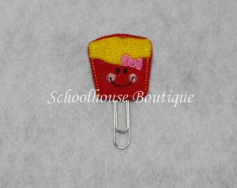 French Fries felt paperclip bookmark, felt bookmark, paperclip bookmark, feltie paperclip, christmas gift, teacher gift