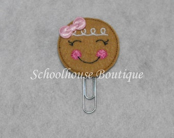 Pink and White Gingerbread Cookie felt paperclip bookmark, felt bookmark, paperclip bookmark, feltie paperclip, christmas gift, teacher gift