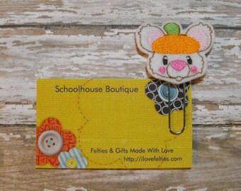 Cute Pumpkin Mouse felt paperclip bookmark, felt bookmark, paperclip bookmark, feltie paperclip, christmas gift, teacher gift