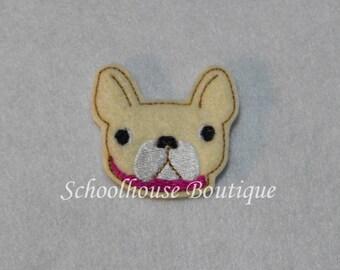 French Bulldog felties, feltie, Machine embroidered, felt applique, felt embellishment, hairbow center
