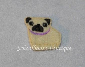 Pug Puppy Dog felties, felt paper clip, badge reel, felt brooch, felt bookmark, planner clip, felt hair clip, key chain