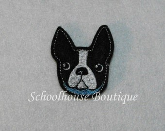Boston Terrier Puppy Dog felties, felt paper clip, badge reel, felt brooch, felt bookmark, planner clip, felt hair clip, key chain
