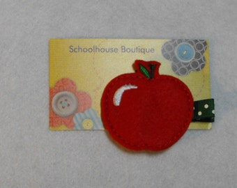 Apple Felt Hair Clips, Feltie Hair Clip, felt clippie, felt hair bow, felt hair clip, party favor