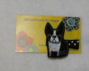 Boston Terrier Puppy Dog Felt Hair Clips, Feltie Hair Clip, felt clippie, felt hair bow, felt hair clip, party favor