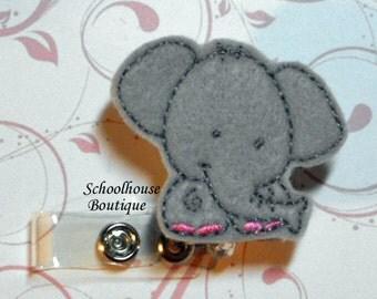 Gray Elephant felt badge reel, name badge holder, nurse badge, ID holder, badge reel, retractable badge clip, feltie badge reel