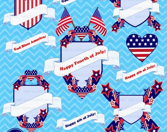 80%OFF Fourth of July clipart, Banners, embellishments, independence day clipart, 4th of july clipart, american, commercial use, AMB-924