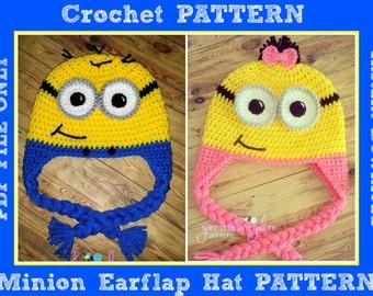 Crochet Minion Earflap Hat Pattern Only ** PDF FILE **