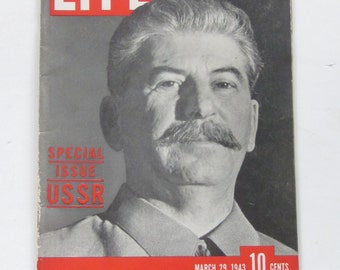 March 29,1943 LIFE Magazine-Special Issue USSR Stalin-Collectible Historical Magazine/ Book