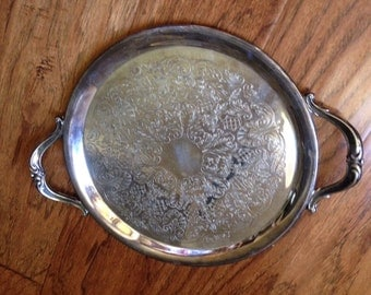 Round Silverplate Tray with Handles