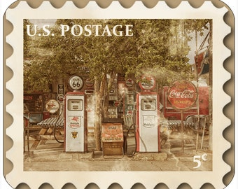 Mousepad-thick mouse pad-Vintage Postage Stamp Rt. 66 Gas Pumps - Free Shipping