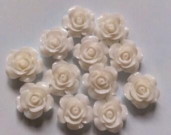 10 pcs 15 mm White cabochon Flower,white rose,15 mm rose,White rose cabochon,15 mm Black flower,Black cabochon flower,flower kit,
