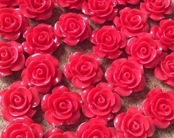 10 pcs 15 mm Dark Red cabochon Flower,15 mm Dark red rose,crimson rose cabochon,15 mm red flower,Dark red cabochon flower,flower kit,