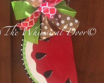 Watermelon Door Hanger Watermelon Wreath Summer Wreath Spring Wreath Everyday Wreath Sunflower Wreath