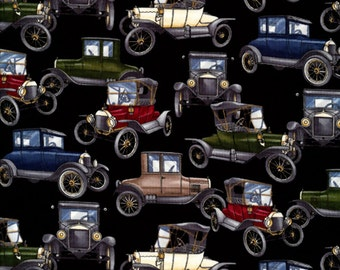 Patchwork Quilting Fabric Timeless Treasures C6441 Vehicles Black