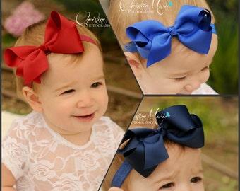 Baby headband, Navy blue bow, royal blue bow, burgundy bow, baby girl headband or clip, infant headband, baby bow, blue headband