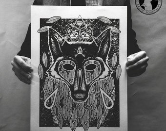 Owl And Wolf. Artistic print. Hand-printed. Dotwork design. Independent artist.