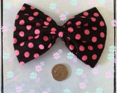 Large black with pink polka dots hair bow