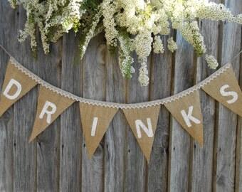 Wedding Drinks Banner Family Celebration Drinks Burlap Banner Drinks Bunting Drinks Party Banner Drinks Sign Wedding Party Banner
