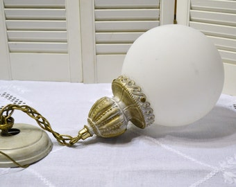 Vintage Moe Hanging Swag Light Hollywood Regency White Gold Mid Century USA PanchosPorch