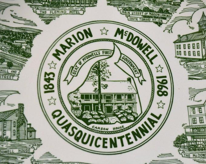 Vintage Plate Marion McDowell North Carolina Quasquicentennial Green White Kettlesprings Kilns Panchosporch