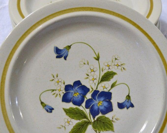 Vintage Mikasa Stonecraft Nita Celebration KA108 Stoneware Salad Luncheon Plate Blue Green Flower Panchosporch