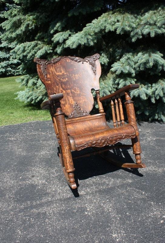 vintage antique oak tiger wood rocking chair. Black Bedroom Furniture Sets. Home Design Ideas