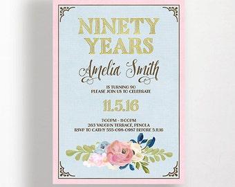 90th Birthday Invitation 80th Birthday Invitation Pink Blue Vintage Floral Flowers Painted Pastel Script Faux Gold Text Printable 60th 70th