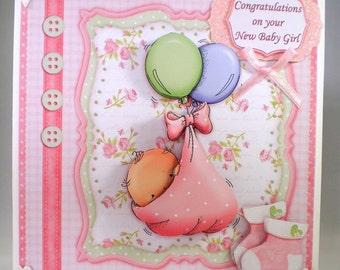 Handmade Decoupage,3D Baby Girl Greetings Card, Personalise,