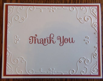Stampin' Up! Handmade Thank You Card Embossed Scroll