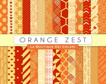 Orange Zest Digital Paper Pack. Digital Scapbook Orange, yellow and red paper, Printable paper patterns, Download for Commercial Use.
