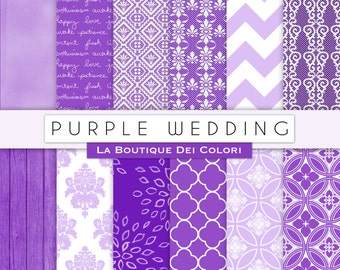 Purple Wedding digital paper, Bridal patterns for wedding invite, save the date cards, scrapbooking  Commercial Use floral, lace