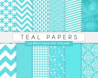 Teal Blue Digital Paper Pack Digital paper light blue digital paper digital Instant Download for Personal and Commercial Use