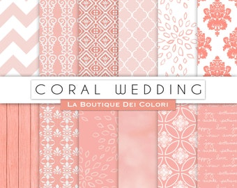 Coral Wedding digital paper, Bridal patterns for wedding invite, save the date cards, scrapbooking  Commercial Use floral, lace.