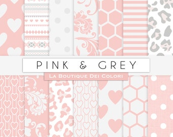 Pink and gray digital paper. Pink digital paper pack of pink grey backgrounds patterns baby girl patterns for commercial use clipart
