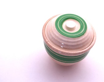 Vintage Small Lidded Ceramic Jar Ringware White with Green Stripes