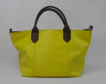 Ladies leather business bag, leather shoulder bag, yellow/brown.
