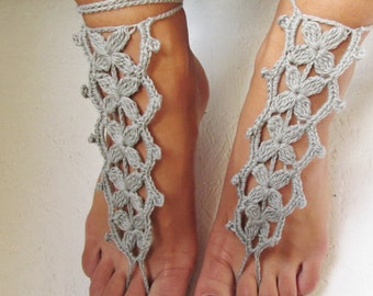 Barefoot Sandals, summer fashion, gray barefoot, wedding accessories,  Nude Shoes, boho accessories, wedding accessories, crochet barefoot