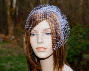 White Birdcage Veil, Ready To Ship in 1 to 3 days, Bridal Bird Cage Veil, Wedding Hairpiece, Blusher Veil, Ivory, Black, Champagne, Blush