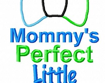 Embroidery Design: Mommy's Perfect Little Gentleman Embroidery Design Chickpea Boy Phrase 4x4, 5x7