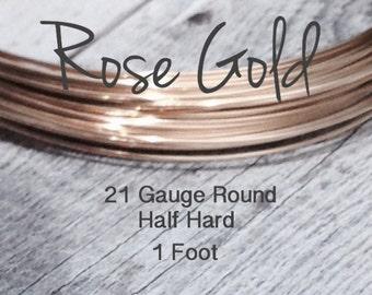 15% Off SALE!! 14K ROSE Gold Filled Wire, 21 Gauge, 1 Foot WHOLESALE, Round, Half Hard