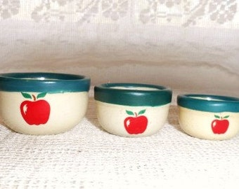 Nesting Bowls- Miniature Bowls with Red Apple Design- Set of 3 Mini Pottery Nesting Bowls- Tiny Cabinet Display- Country Crock Bowls